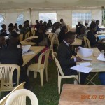 Lawyers screen clients during a free legal aid clinic at Kituo Head office.