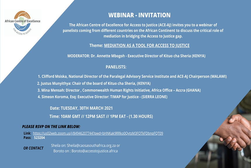 Would you like to know more about mediation? Join us on Tuesday, 30th March 2021 for a webinar that will focus on the Critical Role of Mediation in Bridging the Access to Justice Gap.
